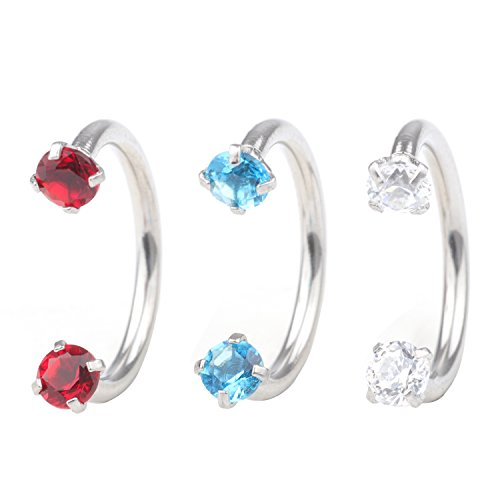 Dress-Up Yourself 3Pcs 16G 8mm Red White And Blue Cubic Zirconia Stainless Steel Horseshoe Hoop Multi-Functional Captive Ring For Nose Daith Lip Eyebrow Nipple Ear Cartilage Helix - Eyes Cubic Zirconia