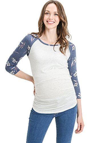 Hello MIZ Women's Maternity T-Shirt Top with Raglan Sleeve (Large, Ash Grey/Navy Floral)