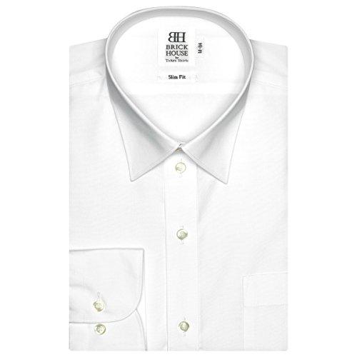 半島生き物儀式BRICK HOUSE スリム 長袖 ワイシャツ 形態安定 レギュラー 白無地 ブロード BM01X903AB11R1A-96