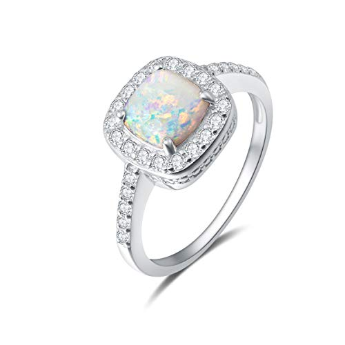 Carleen 14K White Gold Plated 925 Sterling Silver Created Opal and Cubic Zirconia Halo Engagement Ring for Women Girls Size 4.5