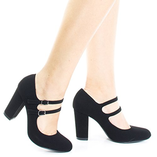 City Classified Curt Black Comfort Padded Insole Double Buckle Mary Jane Dress Pump, Chunky Block Heel -6