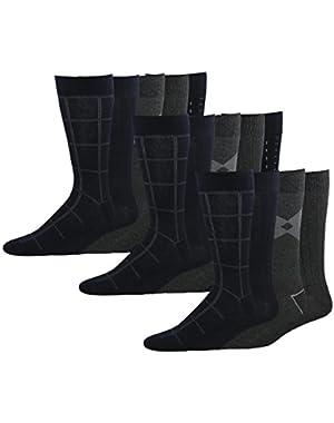 Men's Classics Dress Dashed Crew Socks, 15 Pair