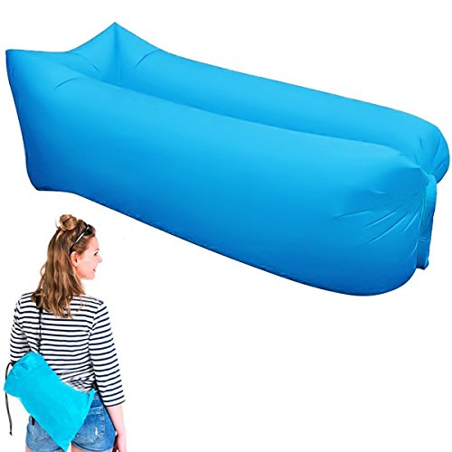 Alotm Inflatable Lounger Hammock Portable Air Beds Sleeping Sofa Couch Air Filled Beach Chair Hangout Bag Lazy Laybag for Travelling, Camping, Beach, Park, Backyard (Blue) (Liner Xl Coco)