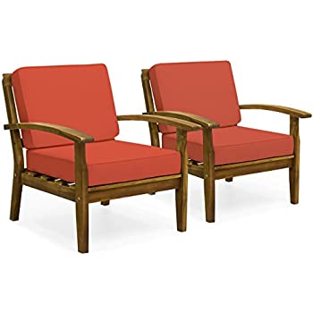 Best Choice Products Set Of 2 Outdoor Acacia Wood Club Chairs W/Cushions  (Red)