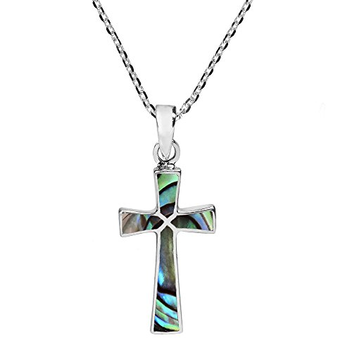 AeraVida Minimalism Christian Cross Abalone Shell .925 Sterling Silver Pendant Necklace