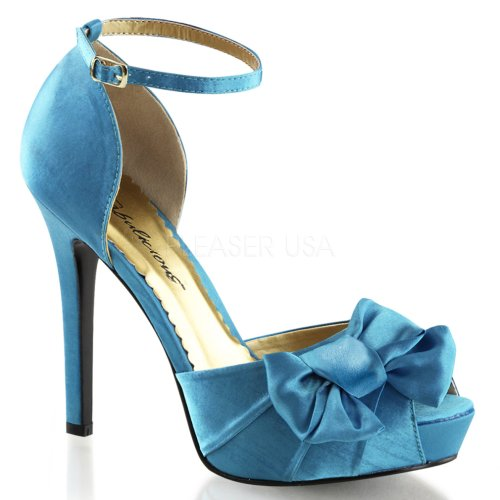 Fabieus Vrouwen Lumina36 Peep Toe Enkel Mode Pump Blauw Satijn