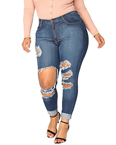 M Crayon Grande Slim Jeans Dchirs Denim Pantalons Bleu Taille Taille Femme Collant Haute Leggings W7TqSHqc8A