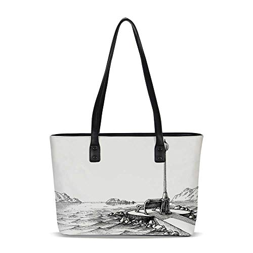 Sketchy PU Shoulder Tote Bag,Bench and Lantern in the Middle of Ocean Waves Mou