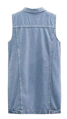 Gilet Autunno Jeans Jacket Prodotto Denimblau Donna Costume Jeans Gilet Moda Plus Cappotto Bavero Eleganti Denim Primaverile Smanicato Casuale Vintage Sciolto Lunga rpr4F