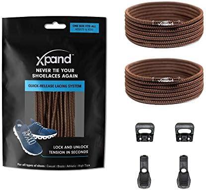Xpand クイックリリース ラウンドレース 結ばない靴紐システム 伸縮性のある靴紐付き - フリーサイズ 大人と子供のすべての靴にフィット...