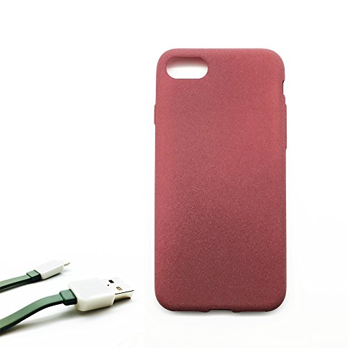 iPhone 7 Case/ iPhone 8 Case, Lasree Frosted Matte TPU Case(Burgundy) + Screen Protector Glass + USB Data line(Color Random)