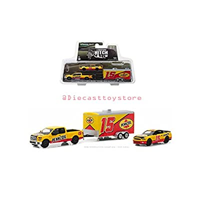 Greenlight New DIECAST Toys CAR 1:64 Racing Hitch & Tow Series 1 - 2015 Ford F-150 & 2012 Shelby GT500 with Enclosed Trailer - PENNZOIL (Yellow/RED) 31050-C: Toys & Games