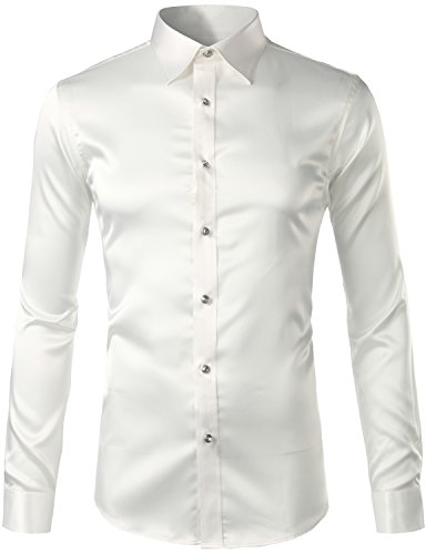 (ZEROYAA Men's Slim Fit Silk Like Satin Disco Dance Prom Dress Shirt Z5-White X-Large)