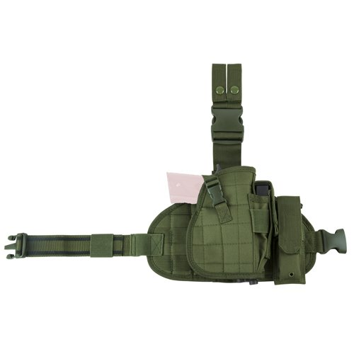 NC Star CVDLHOL2956G NcStar, Drop Leg Molle Panel/Holster/Magazine Pouch, Green - Molle Drop Leg Holster Panel