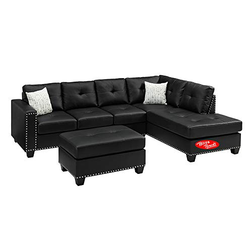 Amazon.com: Sectional Sofa Set Faux Leather Nailhead Studded ...