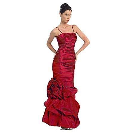 Stunning Red Stretch Taffeta Gown With Gathered Bottom & Giant Ruched Flower