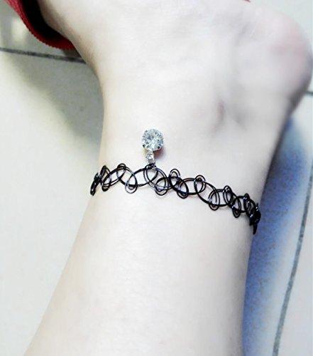 Tobilleras de tatuaje japonés con cristales austriacos elásticos ...