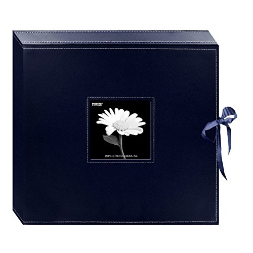 Pioneer Memory Album - Pioneer 12 Inch by 12 Inch 3-Ring Leatherette Inset Frame and Ribbon Closure Memory Book Box, Navy Blue