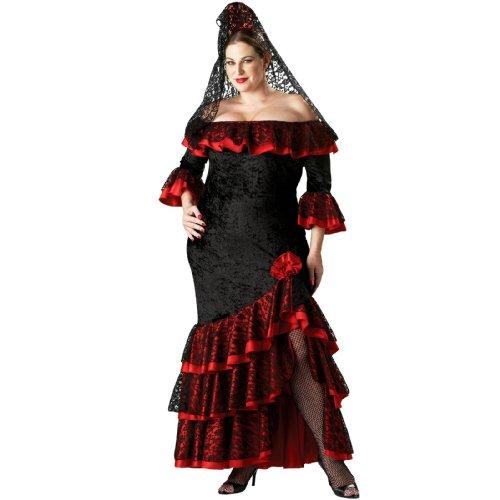 Senorita Adult Costume - Plus Size (Plus Size Flamenco Costume)