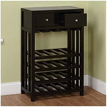 Wine Cabinet This Beautiful Modern Black Wine Rack Cabinet Can Display up to 20 Wine Bottles, Your Glasses, and Any Accessories in the Added Storage Drawers. This Furniture Will Add a Sleek Modern Touch to Your Home Decor Guaranteed.