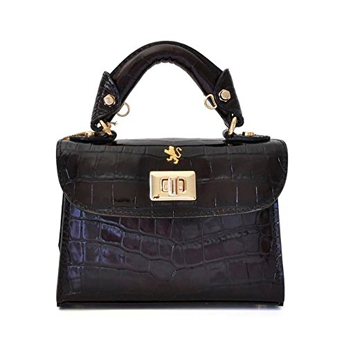 Pratesi Womens [Personalized Initials Embossing] Italian Leather Lucignano Croco Small Handbag in Black by Pratesi