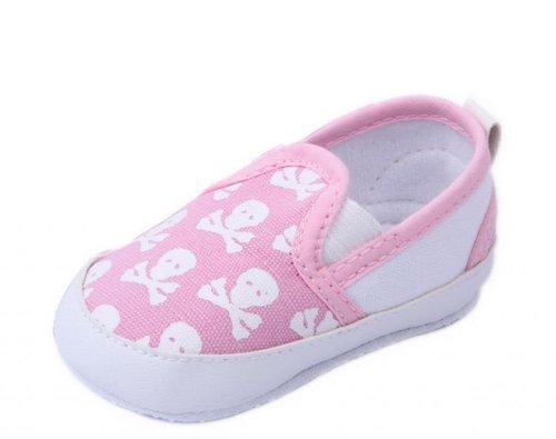 Bigood Baby Toddler Crib Skull Anti-Slip Shoes First Walking Sneakers 11cm Pink