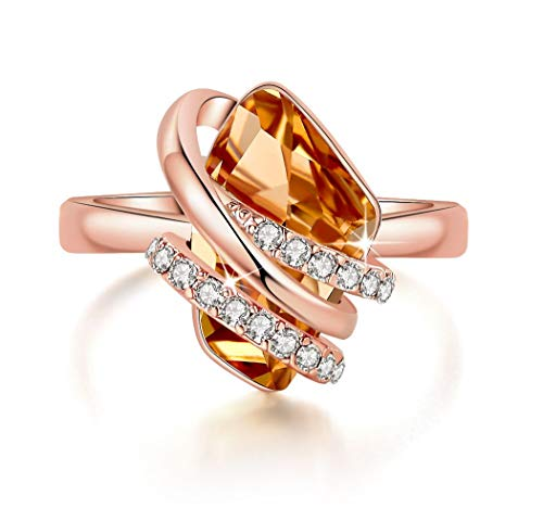 Leafael Wish Stone Women's Adjustable Open Ring Made with Swarovski Crystals (Topaz Amber Brown Rose Gold Plated) Gifts for Women Mother Sister November Birthstone Jewelry, Size 6.5-8