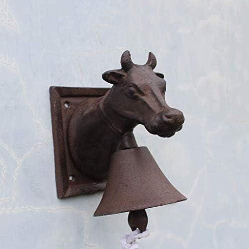 風鈴アンティーク鋳鉄ヘッドベルベルフレンチ錬鉄壁の装飾カフェ装飾ガーデンペンダント15x11x18cm鋳鉄ドアベル