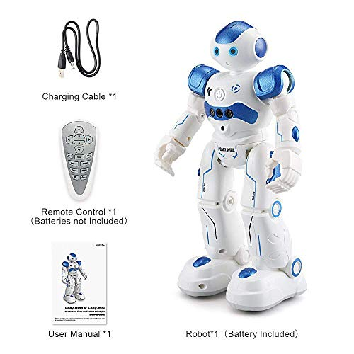 Threeking Smart Robot Toys Gesture Control Remote Control Robot JJRC Robot Gift for Boys Girls Kid's Companion:Game Fun Learning Music Dance Etc.Rechargeable Rc Robot Kit - Blue