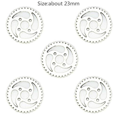 Antique Silver Tone Gear Cog Wheel Watch Part Charms Alloy Jewelry Steampunk DIY (Pattern - 6pcs Gear #24) ()