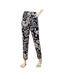 Cobama Women's Comfy Chic Casual Mid Waist Cotton Floral Printed Pants