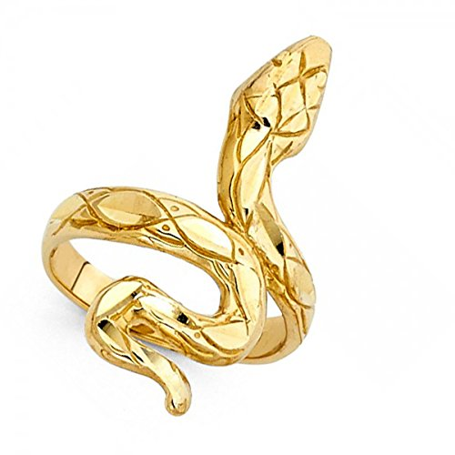 14k Yellow Gold Snake Ring Curve Band Diamond Cut Design Polished Finish Genuine Solid 28MM