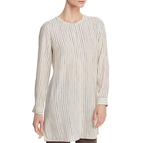 Eileen Fisher Womens Petites Silk Pinstripe Button-Down Top Beige PS