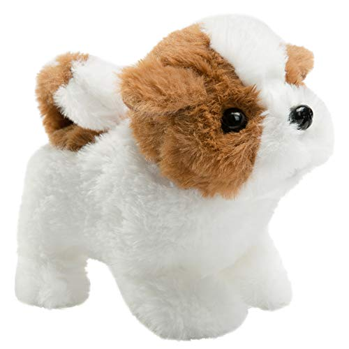 HollyHOME Plush Saint Bernard Electronic Interactive Toy Walking,Barking,Wagging Tail,Stretching Puppy Dog 7 Inches Gifts for Kids & Pets ()