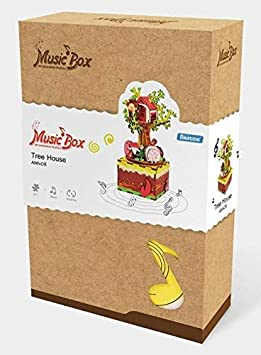 ROBOTIME DIY Craftable Music Box Set Build Your Own 3D Wood Puzzle Castle In The Sky Ferris Wheel Plays Song