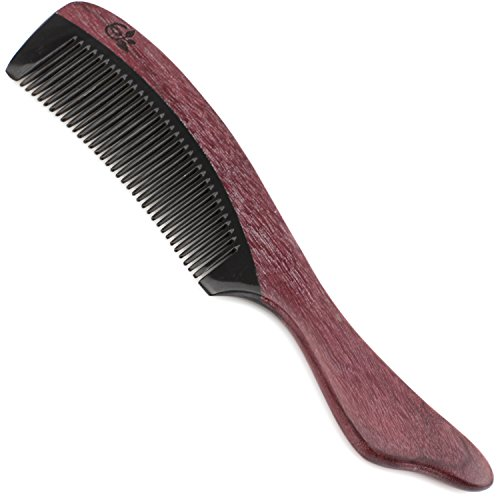 (Evolatree Purpleheart Horn & Wood Comb for Hair - Handmade Natural Wooden Combs with Anti-static & No Snag - Smoothing Comb, Fine Tooth, Flow, 7