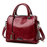 Women Messenger Bags Solid Rivet Cover Pattern Crossbody Shoulder Bags Handbag Cell Phone Leather Purse (Wine)