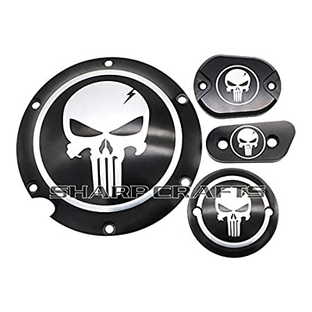 ShineBear Fittings Motorcycle Skull Derby Timer Clutch Timing Covers Master Cylinder Chain Inspection Cover for Harley Sportster Iron XL883 XL1200