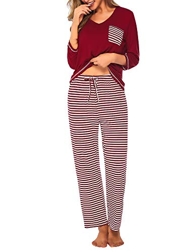 (DAIKEN Womens Pajama Set Striped 3/4 Sleeve Top & Pants Sleepwear Pjs Sets Burgendy)
