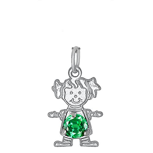 DTLA Sterling Silver CZ Simulated Birthstone Girl Charm Pendant for Baby and Children - May Child Birthstone Charm