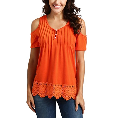 - Goddessvan Womens Casual V Neck Lace Short Sleeve Tops Cold Shoulder Button up Blouse (M, Orange)