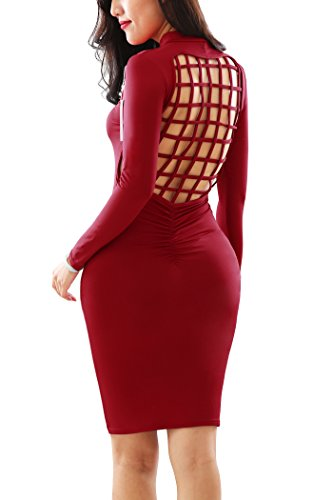 Hollow Sexy Sleeve Turtleneck Dress Long Fit Dress Slim Bodycon Comfy Red YMING Women PROwSxqfng