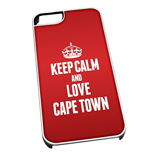 Bianco Cover per iPhone 5/5S 2323Rosso Keep Calm And Love Cape Town