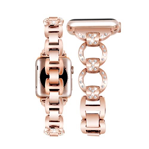 Rockvee Bling Band Compatible for Apple Watch 38mm 42mm, Stainless Steel Wristband Bracelet Replacement Strap for Apple Watch Series 3 Series 2 Series 1