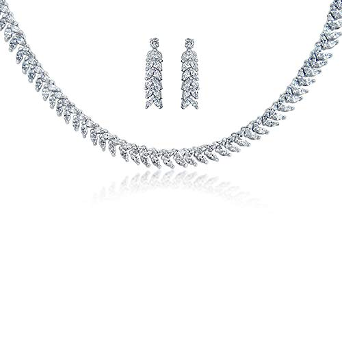 Bling Jewelry Bridal AAA Marquise Cubic Zirconia CZ Collar Statement Tennis Necklace Earring Set for Women Wedding Silver Plated ()