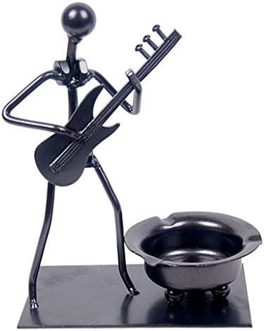 灰皿 , メタルクラフト灰皿、鉄素材リトルピープルバンドエレキギターモデルクリエイティブ灰皿インターネットカフェデコレーション (色 : 黒)