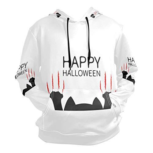 Men's Hooded Sweatshirt Happy Halloween Black Cat Paw Pullover Fashion Hoodie -