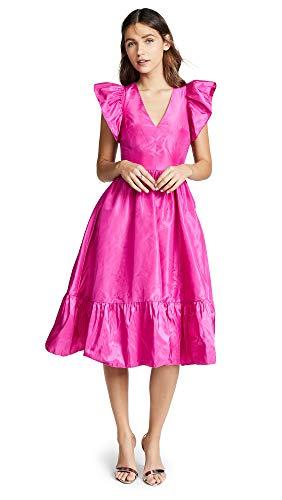 (Ewa Herzog Women's Tiered Taffeta Midi Dress, Fuschia, Pink, 0)