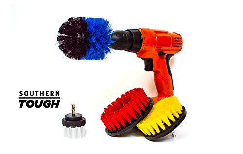 Heavy Duty Power Scrubbing Drill Brush Attachment Set – Multi-Surface Cleaning – Bathroom Kitchen Carpet Car Boat Deck Wheel – 2in White Soft, 4in Yellow Stiff, 5in Red Hard, Cone-Shaped Blue Stiff