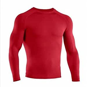(Size: S / Color: Red) Sports Cycling Compression Thermal Base Layer Under Shirt
